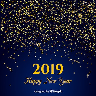 Gouden confetti nieuwjaar achtergrond