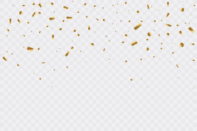 Gouden confetti op transparante achtergrond. viering partij. illustratie.