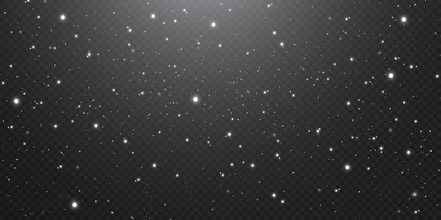 Gouden confetti-sterren van kerstmis vallen, glanzende sterren vliegen langs de nachtelijke hemel, de weerspiegeling van de lichtpunten in de ruimte. vakantie achtergrond. magische glans.