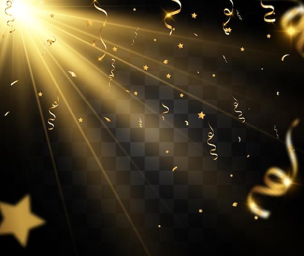 Gouden confetti valt op een mooie achtergrond vallende slingers op het podium