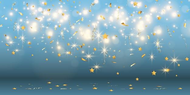 Gouden confetti valt op een mooie achtergrond. vallende slingers op het podium.