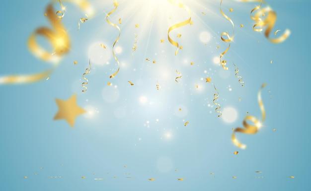 Gouden confetti valt op een mooie achtergrond vallende streamers op het podium