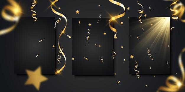 Gouden confetti valt. vallende streamers