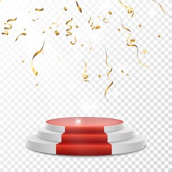 Gouden confetti verspreid. confetti valt op een podium met een lichteffect.