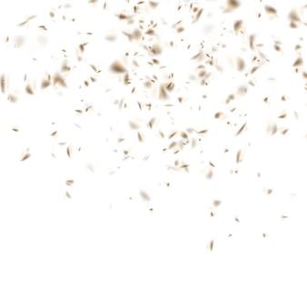 Gouden confettiviering op wit. feestelijke achtergrond.