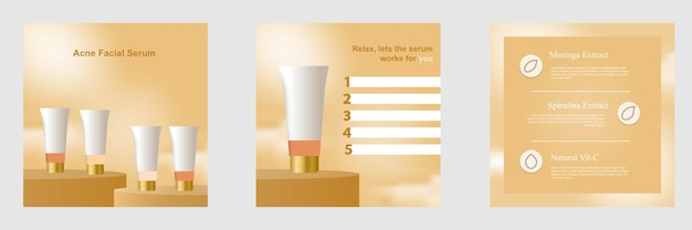 Gouden cosmetische social media post-bannersjabloon met platformpodium display productachtergrond