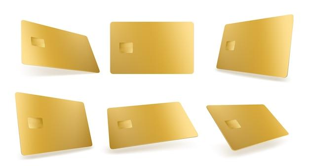 Gouden creditcardmodel, geïsoleerde gouden lege sjabloon met chip op wit