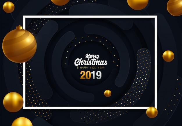 Gouden decoratie ornament met kerst bal op vip-zwarte achtergrond