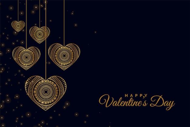 Gouden decoratieve harten blauwe wenskaart