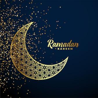 Gouden decoratieve maan ramadan kareem achtergrond