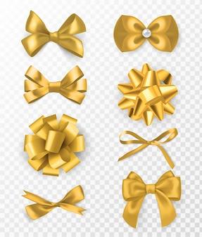 Gouden decoratieve strikken. 3d-zijden lint met decoratieve strik, gouden vakantie verpakkingselement, kaart of pagina decor, elegante cadeau tape vector ingesteld op transparante achtergrond