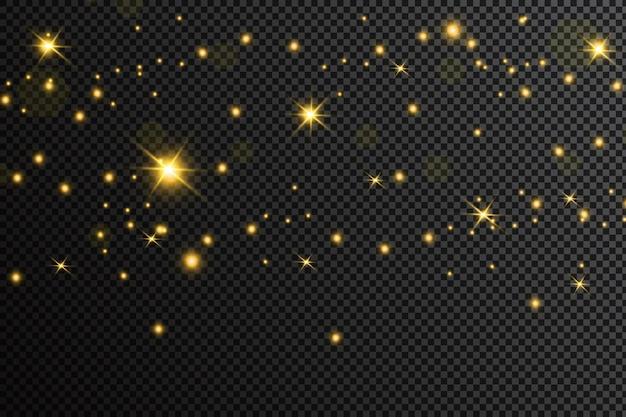 Gouden deeltjes. de gloeiende gele bokehcirkels vatten gouden luxeachtergrond samen