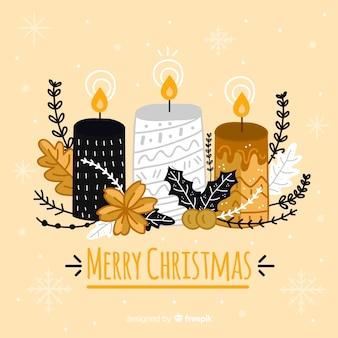 Gouden details kerstmis kaars achtergrond