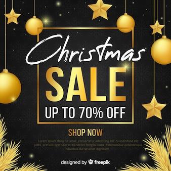 Gouden details kerstmis verkoop achtergrond