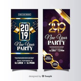 Gouden details nieuwe jaar feest poster