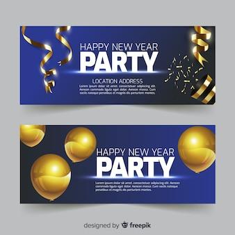 Gouden details nieuwe jaar feestbanner