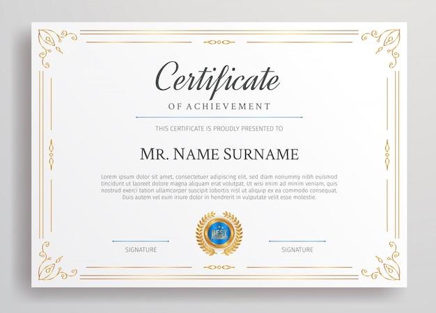 Gouden diplomacertificaat met blauwe badge en rand a4-sjabloon voor award-, zakelijke en onderwijsbehoeften