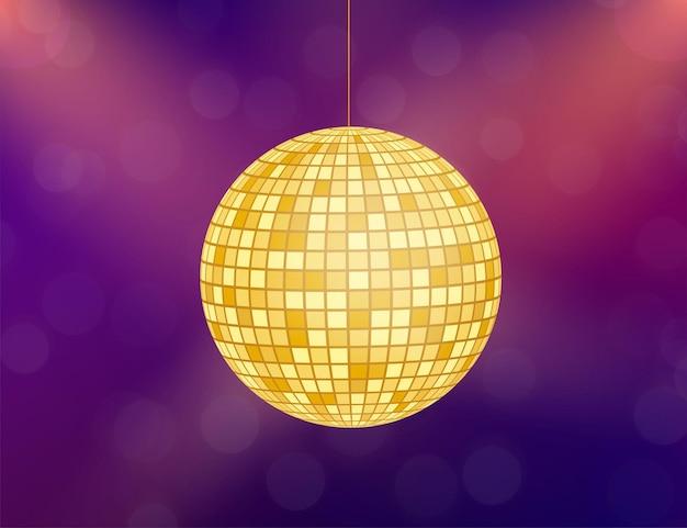 Gouden disco bal pictogram geïsoleerd op grijstinten achtergrond. vector voorraad illustratie.