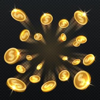 Gouden dollar munten explosie geïsoleerd. vectorillustratie voor financiën en gokken concept. gouden muntstukdollar en financiënfortuin
