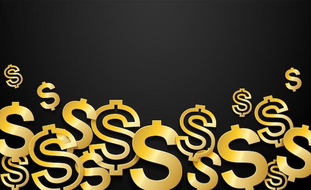 Gouden dollars ondertekenen op zwarte achtergrond.