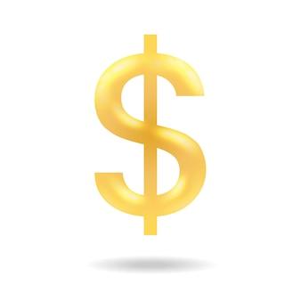 Gouden dollarteken met verticale lijn vector vlakke afbeelding geïsoleerd