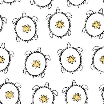 Gouden doodle schildpadden. vector naadloos patroon.