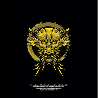 Gouden draak hoofd logo sjabloon