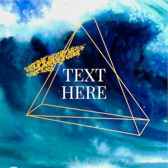 Gouden driehoekig frame en blauwe marine aquarel splash