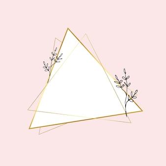 Gouden driehoekig frame met eenvoudige bloemtekening