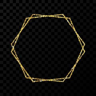 Gouden dubbel zeshoekig frame. modern glanzend frame met lichteffecten geïsoleerd op donkere transparante achtergrond. vector illustratie.