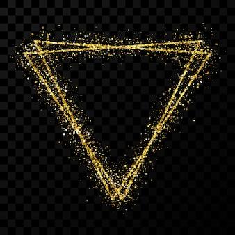 Gouden dubbele driehoek frame. modern glanzend frame met lichteffecten geïsoleerd op donkere transparante achtergrond. vector illustratie.