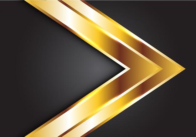 Gouden dubbele pijl op grijze luxe futuristische achtergrond.