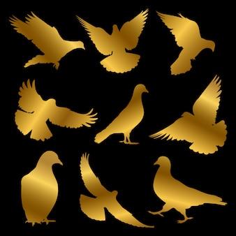 Gouden duif silhouetten geïsoleerd