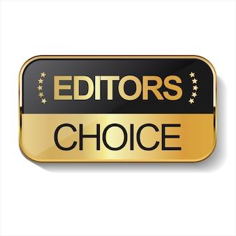 Gouden editors keuze badge op witte achtergrond