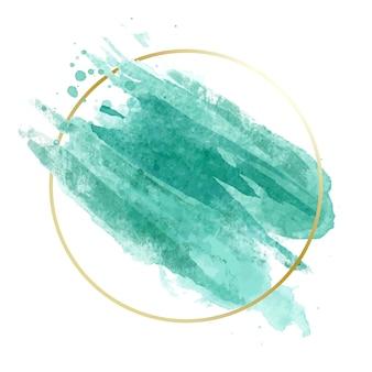 Gouden eenvoudig kader met blauwe waterverfvlek