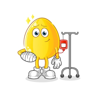 Gouden ei ziek in iv-afbeelding. cartoon mascotte mascotte