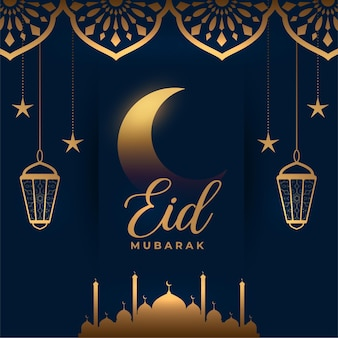 Gouden eid mubarak islamitische wenskaart