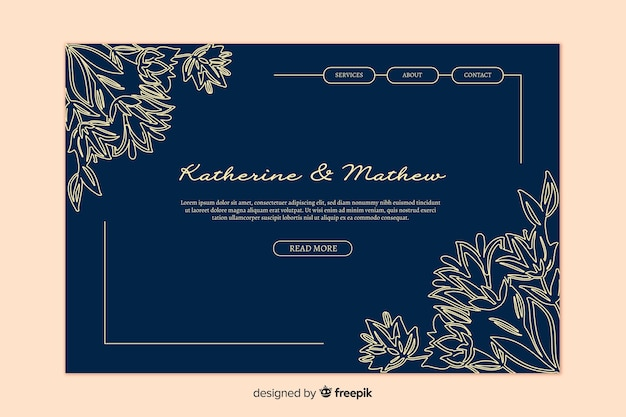 Gouden elegante bruiloft-bestemmingspagina