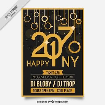 Gouden elegante flyer van gelukkig nieuwjaar