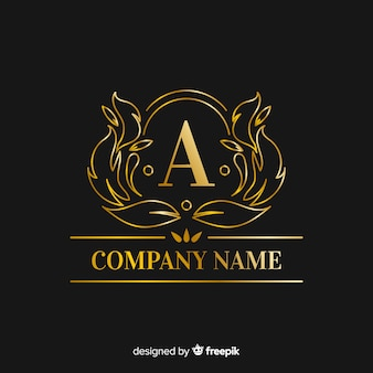 Gouden elegante hoofdletter logo sjabloon