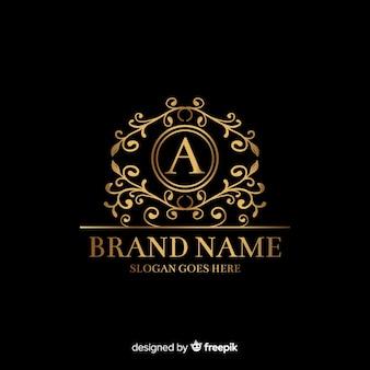 Gouden elegante logo sjabloon met ornamenten
