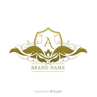 Gouden elegante logo vlakke stijl