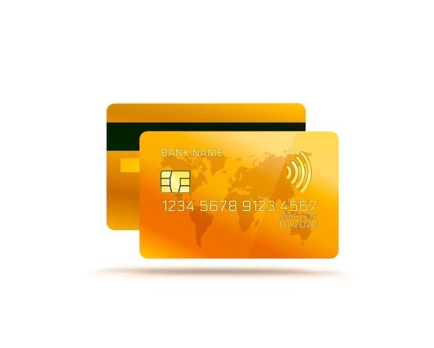 Gouden elektronische creditcard pictogram, financiële technologie, geïsoleerd op wit.