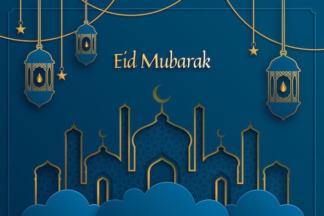 Gouden en blauw papierstijl ontwerp voor eid mubarak