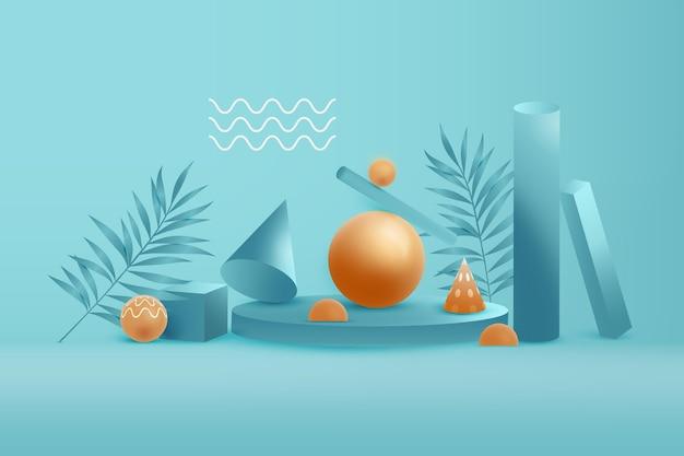 Gouden en blauwe 3d geometrische vormen achtergrond Premium Vector