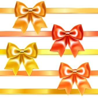 Gouden en bronzen strikken van zijden lint