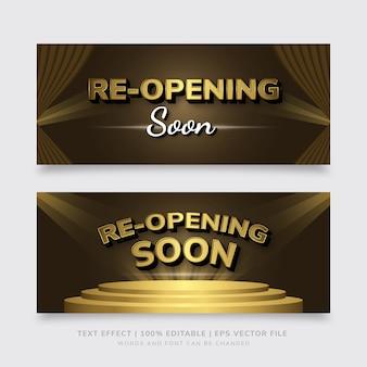 Gouden en bruine premie die spoedig het teksteffect van het bannermalplaatje eps opnieuw openen