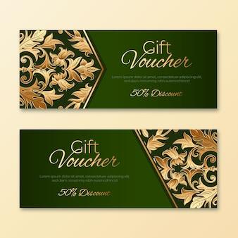 Gouden en groene cadeaubon sjabloon