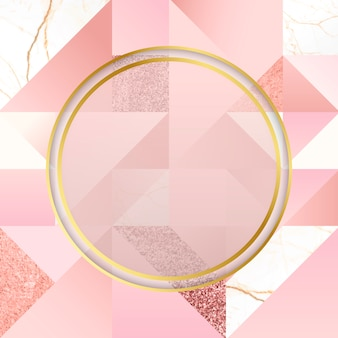 Gouden en roze embleem