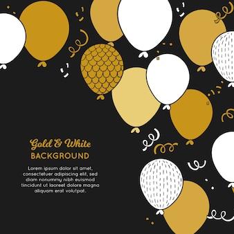 Gouden en witte ballonnen achtergrond